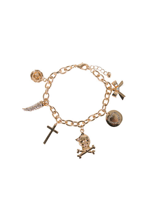 Ladies' Charm Bracelet, GOLD, hi-res