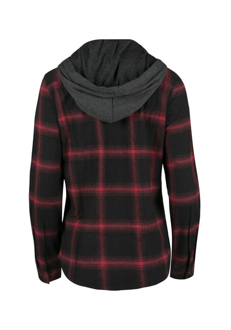 Ladies' Hooded Flannel Boyfriend Shirt, TRUE RED, hi-res