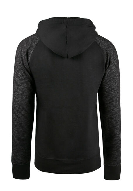 Men's Colour Block Hoodie, BLACK, hi-res