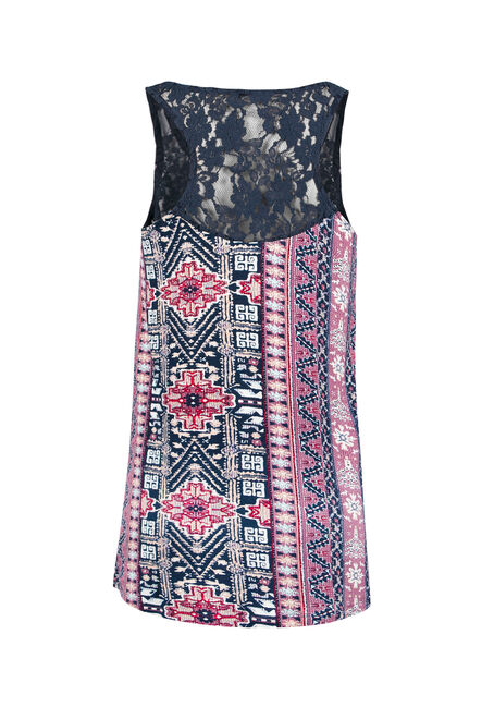 Ladies' Twin Print Tank, INDIGO, hi-res