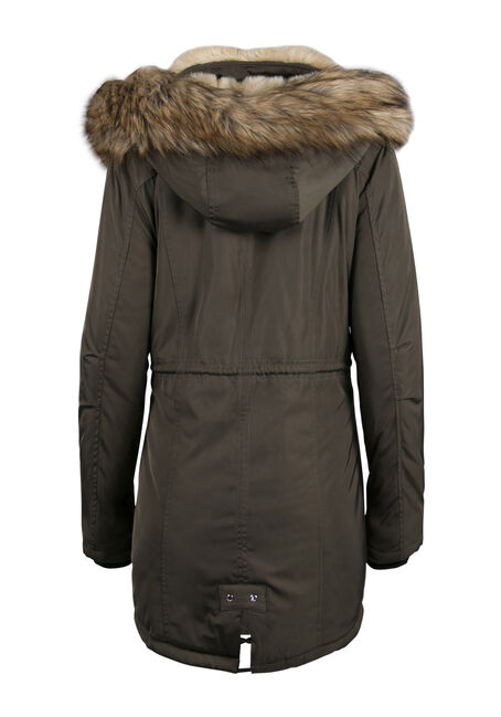 Ladies' Fur Trim Hooded Parka, OLIVE, hi-res