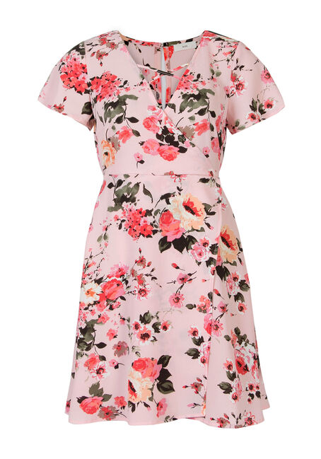 Ladies' Floral Wrap Dress, PINK, hi-res