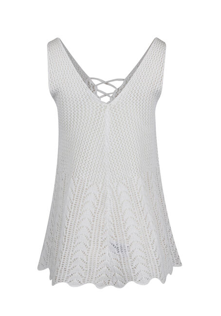 Ladies' Cage Neck Pointelle Tank, WHITE, hi-res