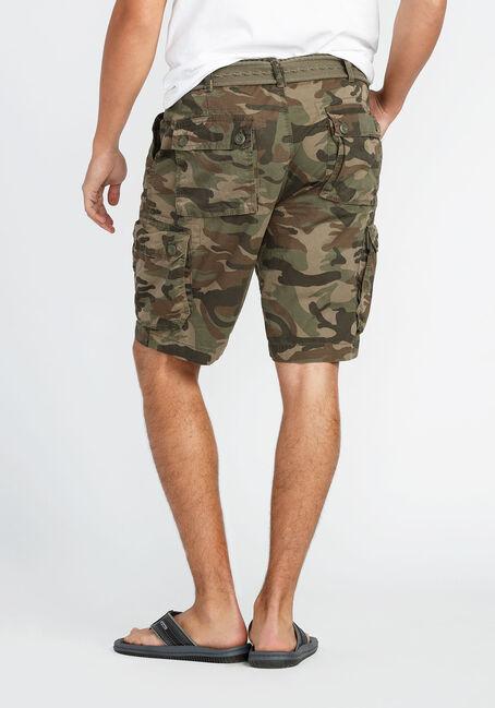 Men's Camo Belted Cargo Short, OLIVE, hi-res
