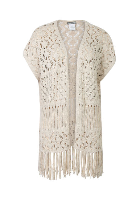 Ladies' Pointelle Fringe Wrap, OATMEAL, hi-res
