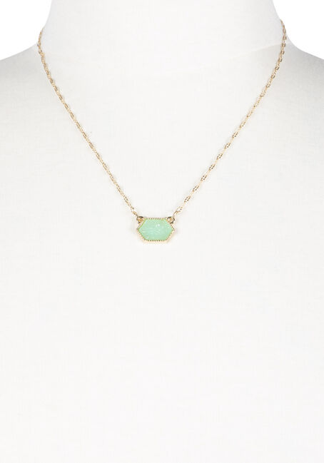 Ladies' Short Mint Gemstone Necklace, GOLD, hi-res