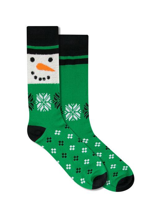Men's Snowman Socks, GREEN, hi-res