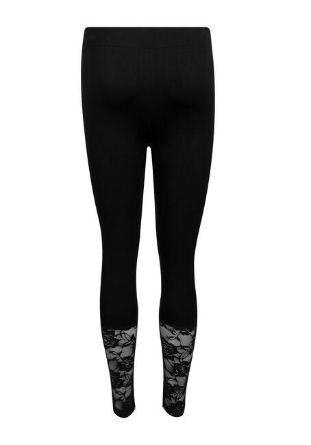 Ladies' Lace Trim Seamless Capri Legging, BLACK, hi-res