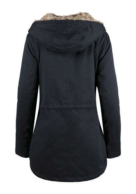 Ladies' Plush Lined Hooded Parka, NAVY, hi-res