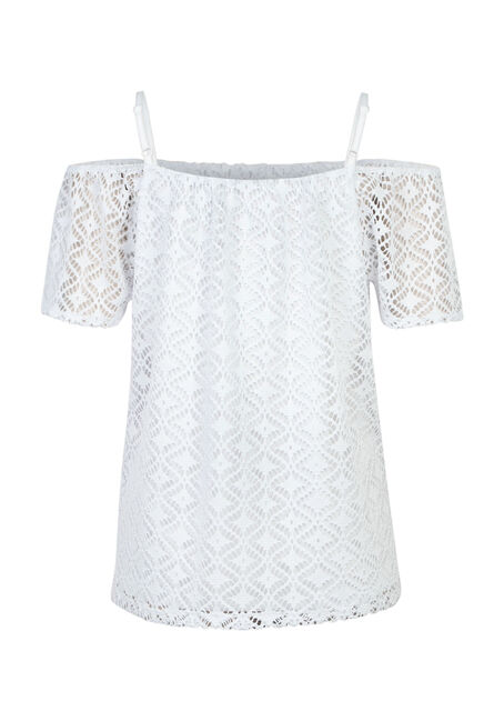 Ladies' Cut Out Cold Shoulder Top, WHITE, hi-res