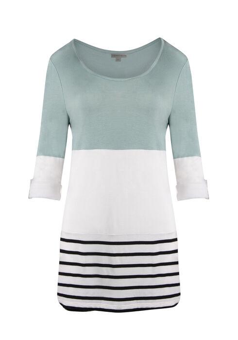 Ladies' Colour Block Stripe Top, MINT, hi-res