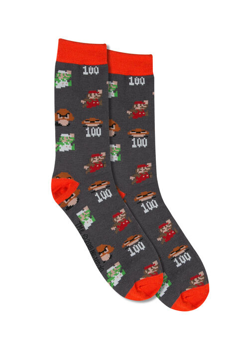Men's Nintendo Crew Sock, BRIGHT RED, hi-res