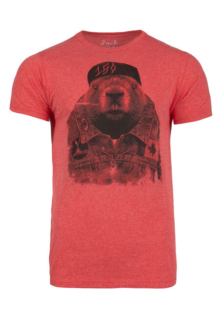 Men's Hipster Beaver Tee, RED, hi-res