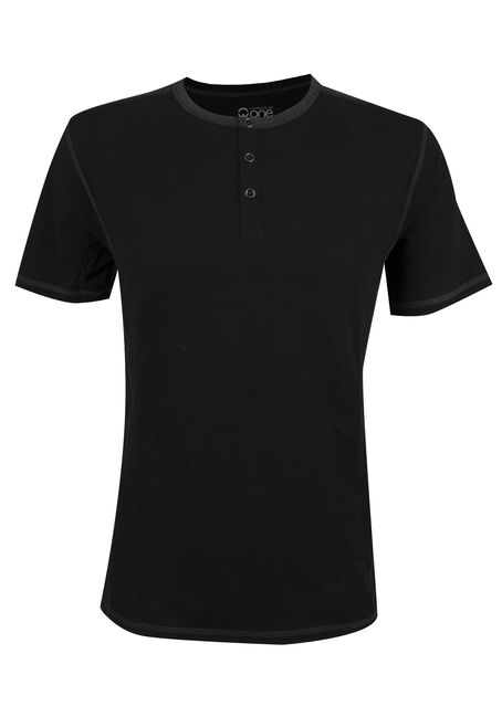 Men's Short Sleeve Henley Tee, BLACK, hi-res