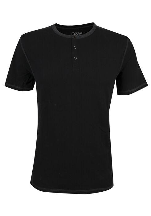 Men's Short Sleeve Henley Tee, BLACK, hi-res