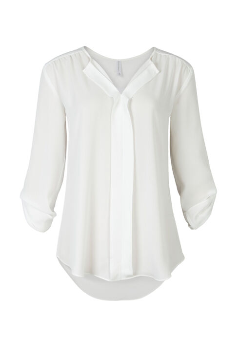 Ladies' Pleat Front Roll Sleeve Shirt, IVORY, hi-res