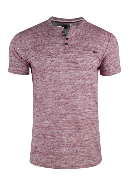 Men's Space Dye Henley, BURGUNDY, hi-res