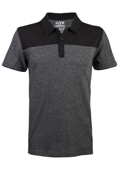 Men's Short Sleeve Colour Blocked Polo, CHARCOAL, hi-res
