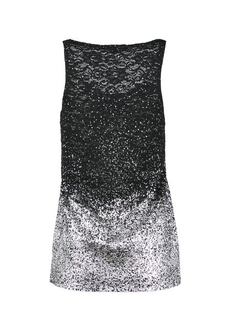 Ladies' Lace Ombre Sparkle Tank, BLACK/SILVER, hi-res