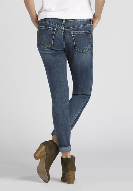 Ladies' Embroidered Girlfriend Jeans, MEDIUM VINTAGE WASH, hi-res