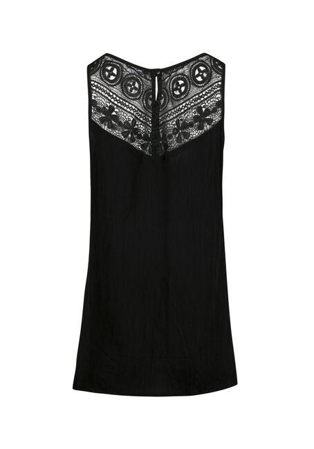 Ladies' Floral Embroidered Tank, BLACK, hi-res