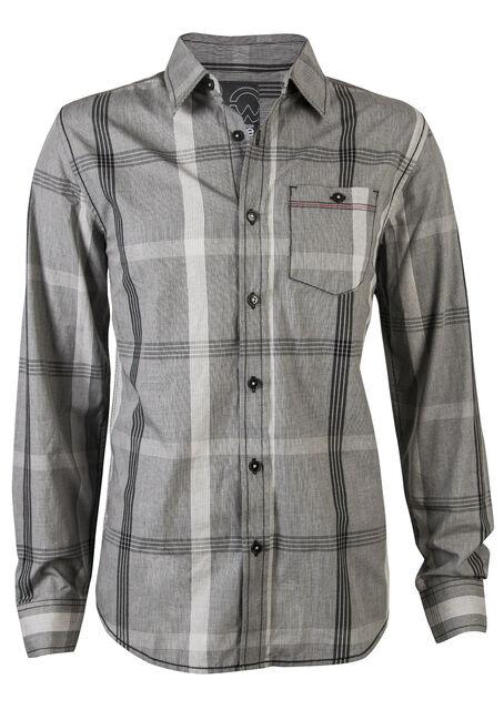 Men's Plaid Shirt, GREY, hi-res