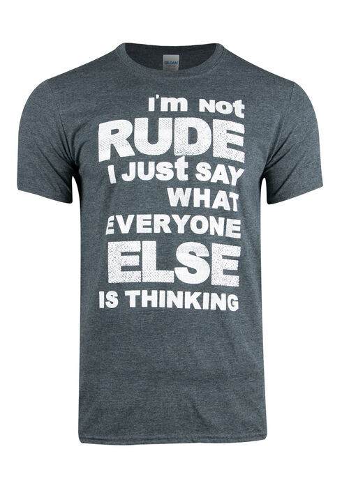 Men's I'm Not Rude Tee, DK HEATHER GREY, hi-res