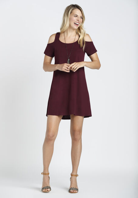 Ladies' Cold Shoulder Dress, BURGUNDY, hi-res