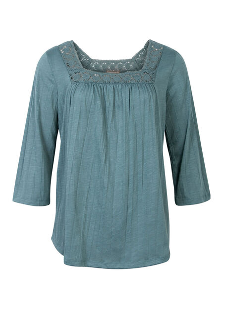 Ladies' Lace Yoke Top, TIDEPOOL, hi-res