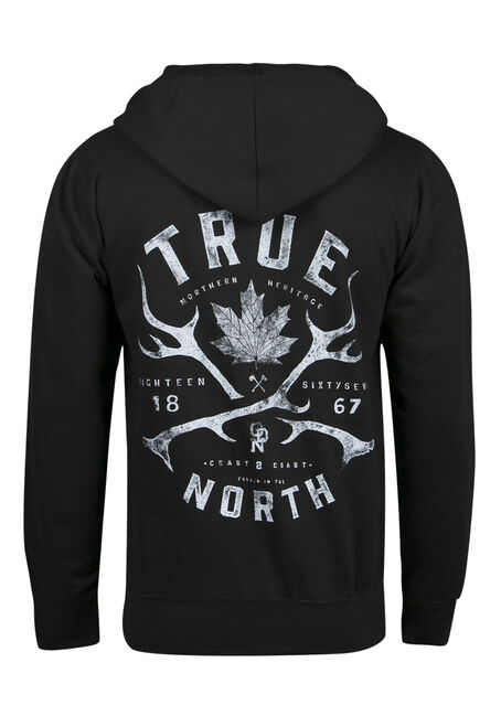 Men's True North Maple Leaf Hoodie, BLACK, hi-res