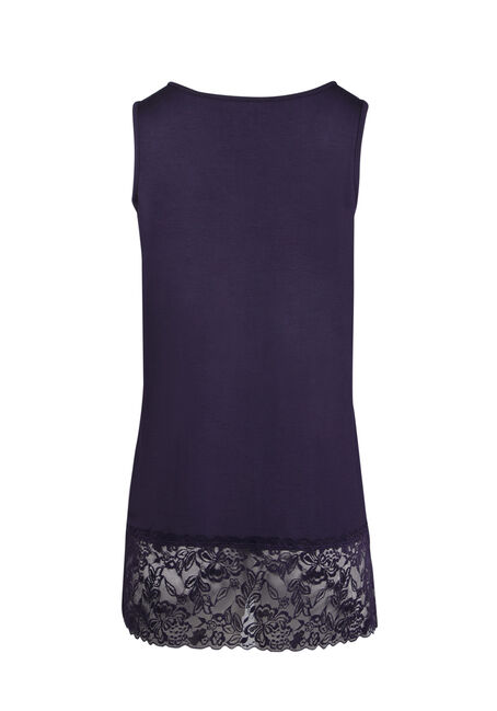 Ladies' Cage Neck Lace Tunic Tank, GRAPE, hi-res