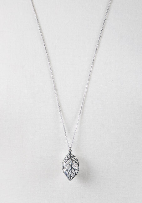 Ladies' Caged Leaf Necklace, RHODIUM, hi-res