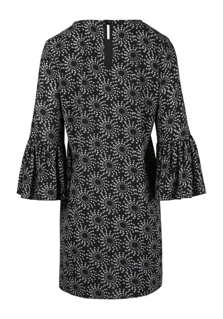 Ladies' Geo Print Bell Sleeve Dress, BLK/WHT, hi-res