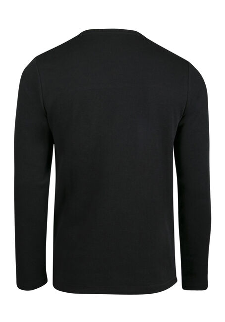 Men's Colour Block Rib Knit Top, BLACK, hi-res