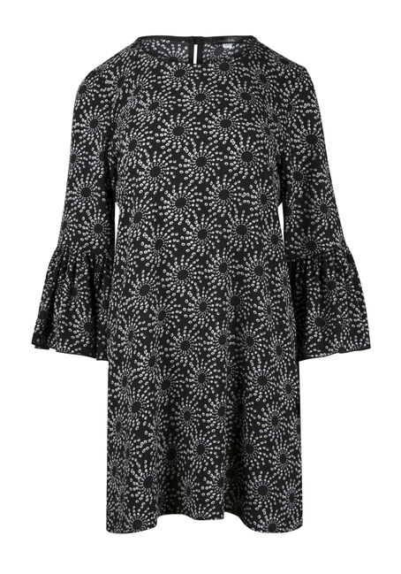 Ladies' Geo Print Bell Sleeve Dress