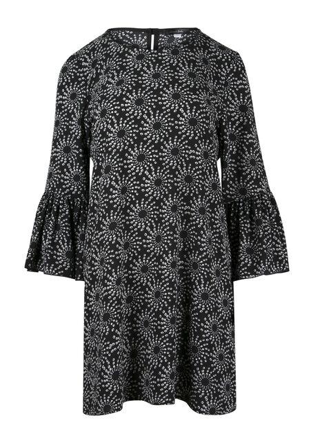 Ladies' Geo Print Bell Sleeve Dress