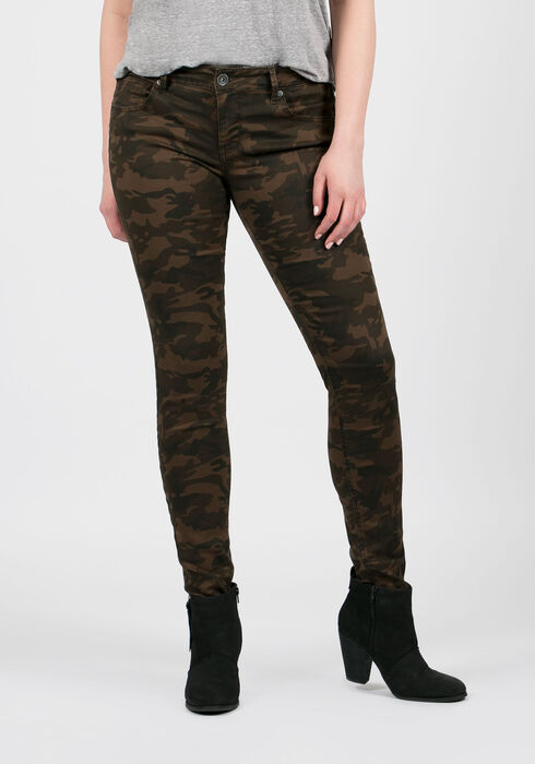 Ladies' Camo Skinny Pants, OLIVE, hi-res