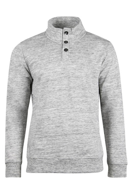 Men's Mock Neck Fleece, GREY, hi-res