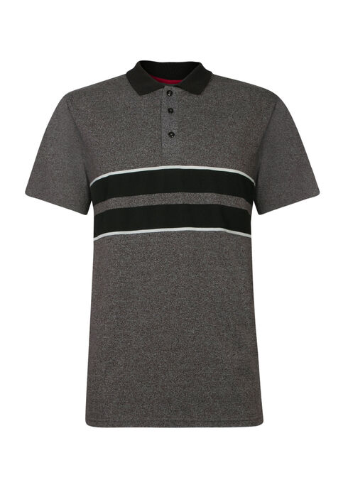 Men's Striped Polo, CHARCOAL, hi-res