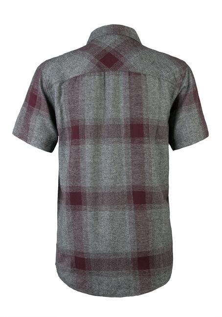 Men's Short Sleeve Plaid Shirt, BURGUNDY, hi-res