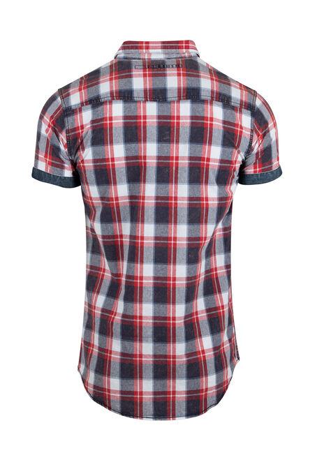 Men's Washed Plaid Shirt, RED, hi-res