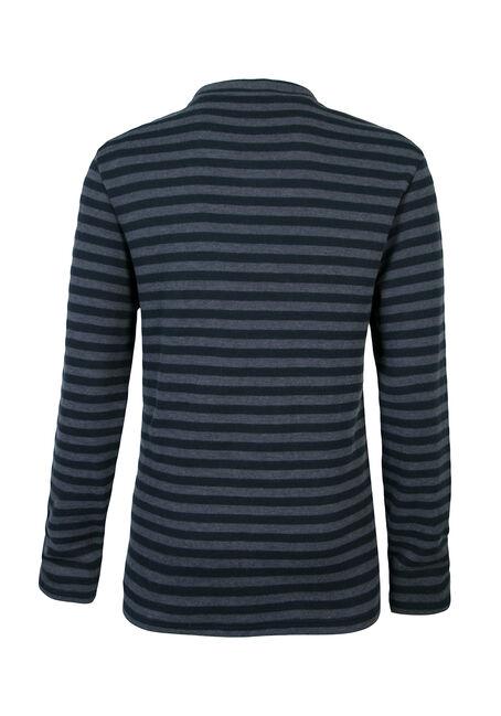 Men's Rib Knit Mini Stripe Shirt, NAVY, hi-res