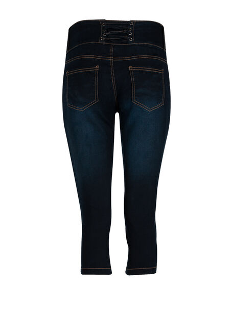 Ladies' Lace Up Waistband Capri, DARK WASH, hi-res