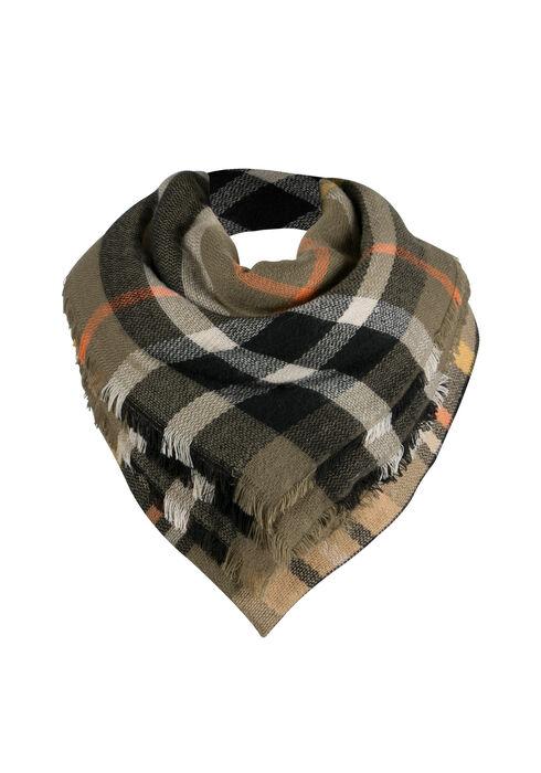 Ladies' Plaid Blanket Scarf, DARK OLIVE, hi-res