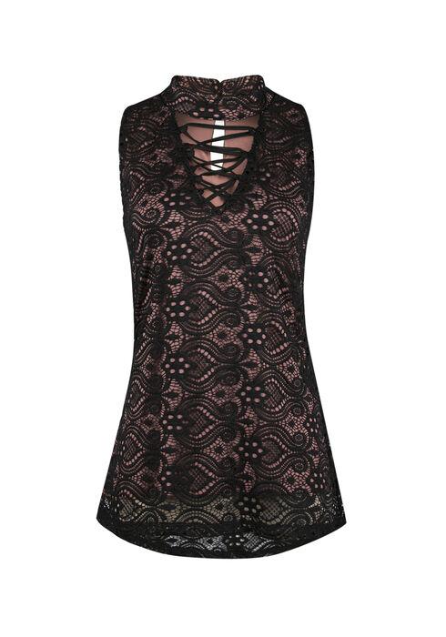 Ladies' Crochet Overlay Lace Tank, BLUSH, hi-res