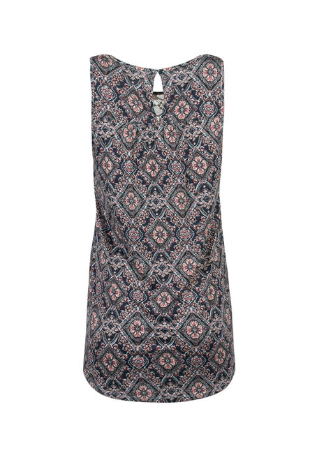Ladies' Wallpaper Print Tank, INDIGO, hi-res