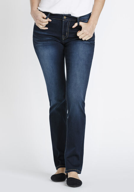 Ladies' Hi-Rise Straight Jeans, DARK VINTAGE WASH, hi-res