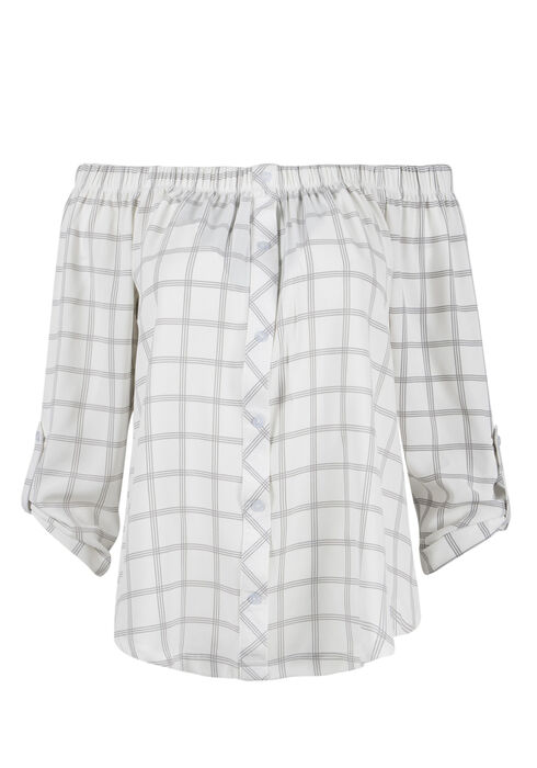 Ladies' Plaid Bardot Top, IVORY/GREY, hi-res