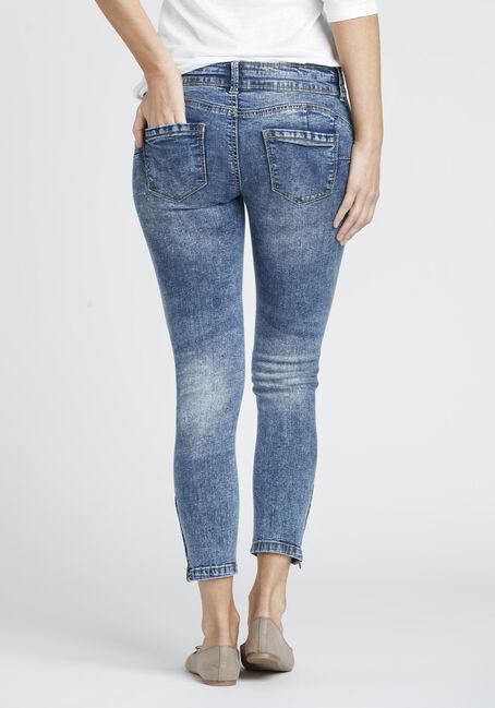 Ladies' Ankle Zip Destroyed Skinny Jean, MEDIUM VINTAGE WASH, hi-res