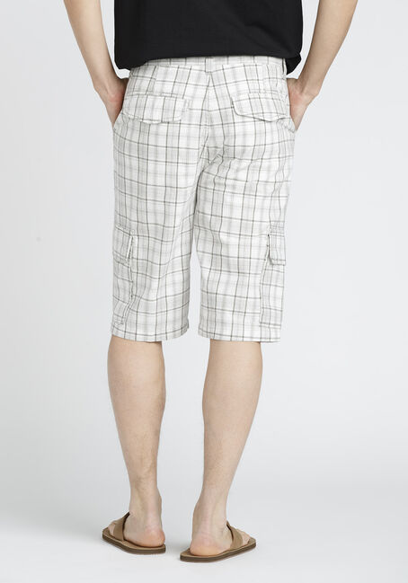 Men's Plaid Cargo Short, WHITE, hi-res